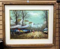 Vintage Oil On Canvas Market Scene, Signed L. Garcia