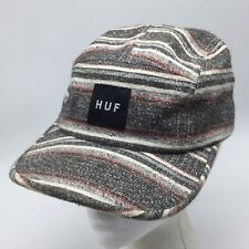 HUF 5 Panel Camp Cadet Style Cap Strapback Hat Muted Color Striped Made in USA