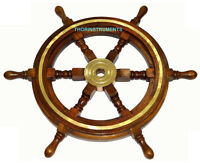 """Wooden Ship Wheel Maritime Pirate Captain Decor 24"""" Ships Boat Steering Wood"""