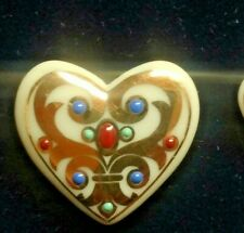 Vintage Signed 1998 LENOX Porcelain Hearts Enamel & Gold 6 Pendants or Earrings