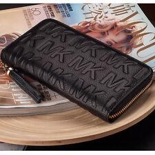 new retro women real leather wallet purse card holders mobile case handbag black