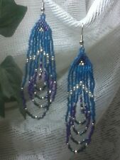 Blues, Purple, and Silver Seed Bead Earrings A28-4