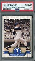 Mickey Mantle New York Yankees 2007 Topps U&H Baseball Card #MMLB8 PSA 10