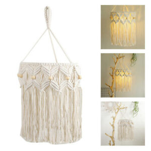Macrame Lamp Shade Woven Boho Lace Hanging Lampshade Light Cover Bedroom