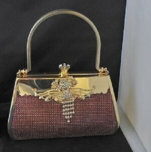 Small Gold Red Crystal Glitter Hard Evening Bag