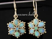 E036 Genuine 9ct SOLID Gold NATURAL Solid Opal Floral Cluster Earrings Drop