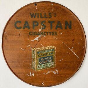 Antique Vintage c1930s Capstan Cigarettes Tin Advertising Shop Sign Not Enamel