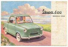 Vespa 400 car, original folding 1959 leaflet RARE RARE RARE E710