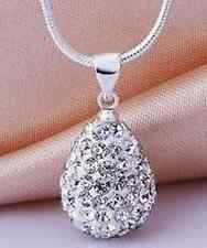 20pc/lot white water drop disco heart chain crystal shamballa necklace pendant