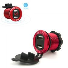 12V 4.2A Dual USB Auto Car Cigarette Lighter Charger Red LED Digital Voltmeter