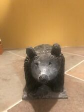 "Vintage folk art hand carved bear (on platform) 6""x3.5""x4"" Black w/shading"