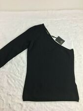 NEW Massimo Dutti Women's Sz Large One Shoulder Sweater Black Lightweight