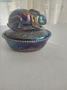 Westmoreland Glass Purple Carnival Rabbit With Slag Base Covered Dish