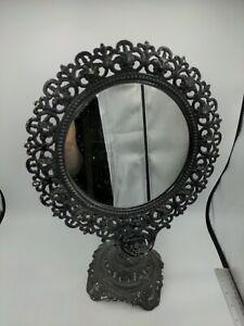 "Antique Cast Iron Vanity Mirror 17"" Tall Vintage"