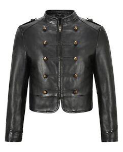Ladies Front Studded Short Jacket Black Napa Classic Genuine Leather Jacket 2266