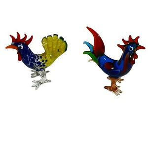 2x Colourful Yellow Blue Art Glass Menagerie Figurine Rooster 7cm tall