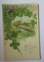 """Neujahr, Kleeblatt, Blumen"" 1900, Prägekarte ♥"