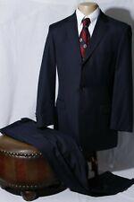 Hugo Boss Loro Piana Men's Navy Striped Super 120s Side Vent Suit 40R W34