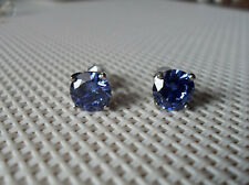 QVC Diamonique cz Sterling/Platinum Tanzanite Colored 2cttw Stud Earrings