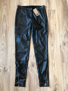 H&M Black Skinny Faux Leather Look Trousers Zip Leggings Size UK 12 H&M Leggings