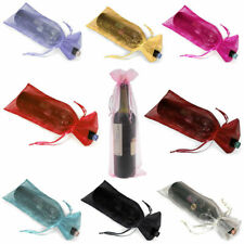 10PCS Lace Sheer Organza Wine Bottle Gift Bags Weddings Parties +Buckle Set. Hot