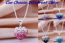 15pcs/lot mixed clay micro Gradient crystal heart shamballa necklace pendant