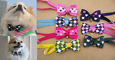 Pet Dog Cat Puppy Plaid Heart Collar Bow Tie Adjustab Necktie Clothes With Bell