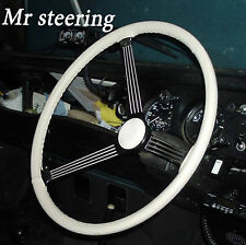 FOR LAND ROVER SERIES 2 1958-1961 WHITE ITALIAN LEATHER STEERING WHEEL COVER NEW