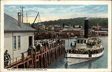 Schiffe ~1910 Boat Landing Boothbay Harbor ME Hafen Amerika Vintage Postcard