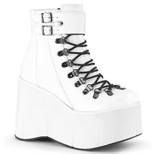 """Huge Demonia 4.5"""" White Vegan Monster Platform Laced Ankle Cuff Shoes Boots 6-11"""