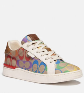 NIB - COACH Women's Lowline Low Top Sneaker Tan Rainbow Signature Canvas SIZE 9