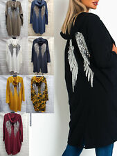 New Women Sequin Angel Wings Back Oversized Hoodie Ladies Jacket Coat Cardigan