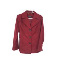Ellen Tracy Womens Long Sleeve 3 Button Rain Red Rum Jacket Size S/C