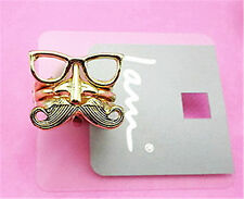Vintage style Gothic set of 3 moustache, nose and glasses ring rings Goth gear