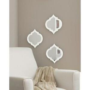 Set of 3 Melena Moroccan Mirrors Wall Hanging Mirrors Home Decor Modern - White