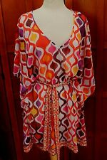 NEW Trina Turk Sheer Print Belted Bathing Swim Suit Cover Up Dress Caftan M