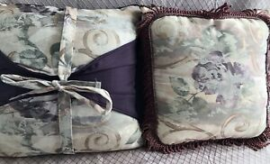 "Croscill Chambord Amethyst Square Accent Throw Pillows 17"" Purple Floral Two (2)"