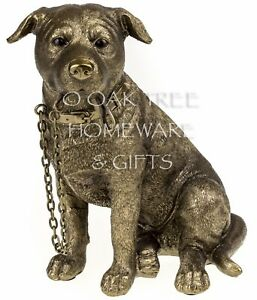 Staffordshire Bull Terrier Statue Bronze Dog Ornament Dog Memorial Figurine New
