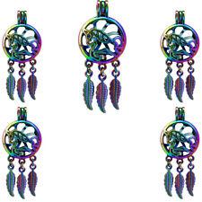 (5pcs Pack) Rainbow Color Dream Catcher Unicorn Pearl Beads Cage Locket C751