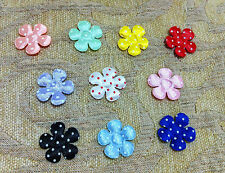 "100 pcs  multi-color polkadot cuty flower appliques craft size 5 cm  2"""