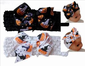 Halloween Hair Bow White Black Baby Hair Bow Headband Child Pumpkin Witch