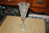 Antique Brilliant Cut Glass Chalice Vase Saw Tooth Top Pinwheel Patterns