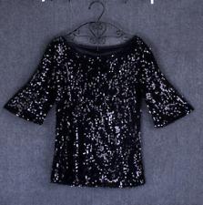 FashionWomen Sequin Lady Sparkle Glitter Blouse Short Sleeve Party Top Size6-22