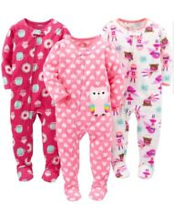 Simple Joys by Carters Baby Girl 3 Pack Flame Resistant Fleece Footed Pajamas 5T