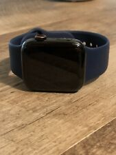 Apple Watch Series 4 44 mm Space Black Stainless Steel W/ Dark Navy Blue Band