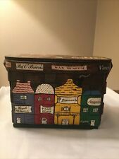 1960's Woven Wooden Purse Handpainted N.O. Storefronts