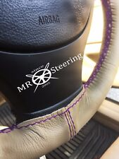 FITS MAZDA XEDOS 9 92-03 BEIGE LEATHER STEERING WHEEL COVER PURPLE DOUBLE STITCH