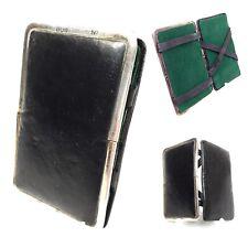 Antique Leather & Silver Wallet / Gentleman's Magic Card Case / Birmingham 1918
