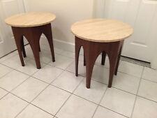 Mid Century Modern Walnut Harvey Probber Occasional tables Travertine top