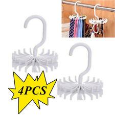 4pcs 360° Rotating Tie Rack Adjustable Tie Hanger Holds 20 Neck Ties Organizer